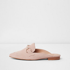 Light pink suede snaffle backless loafers