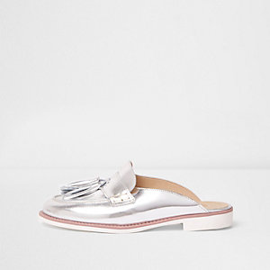 Silver metallic backless loafers
