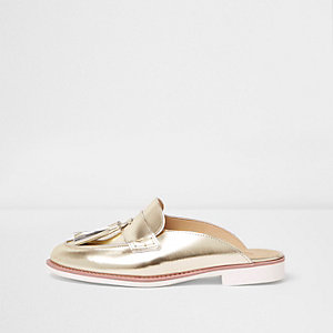 Loafer ohne Fersenpartie in Gold-Metallic