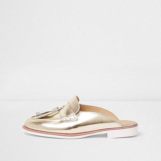 Gold metallic backless loafers