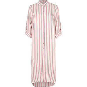 Red stripe maxi shirt dress