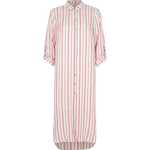 Red stripe maxi shirt dress