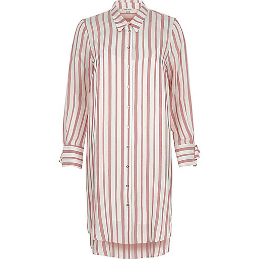 Red stripe long sleeve shirt dress