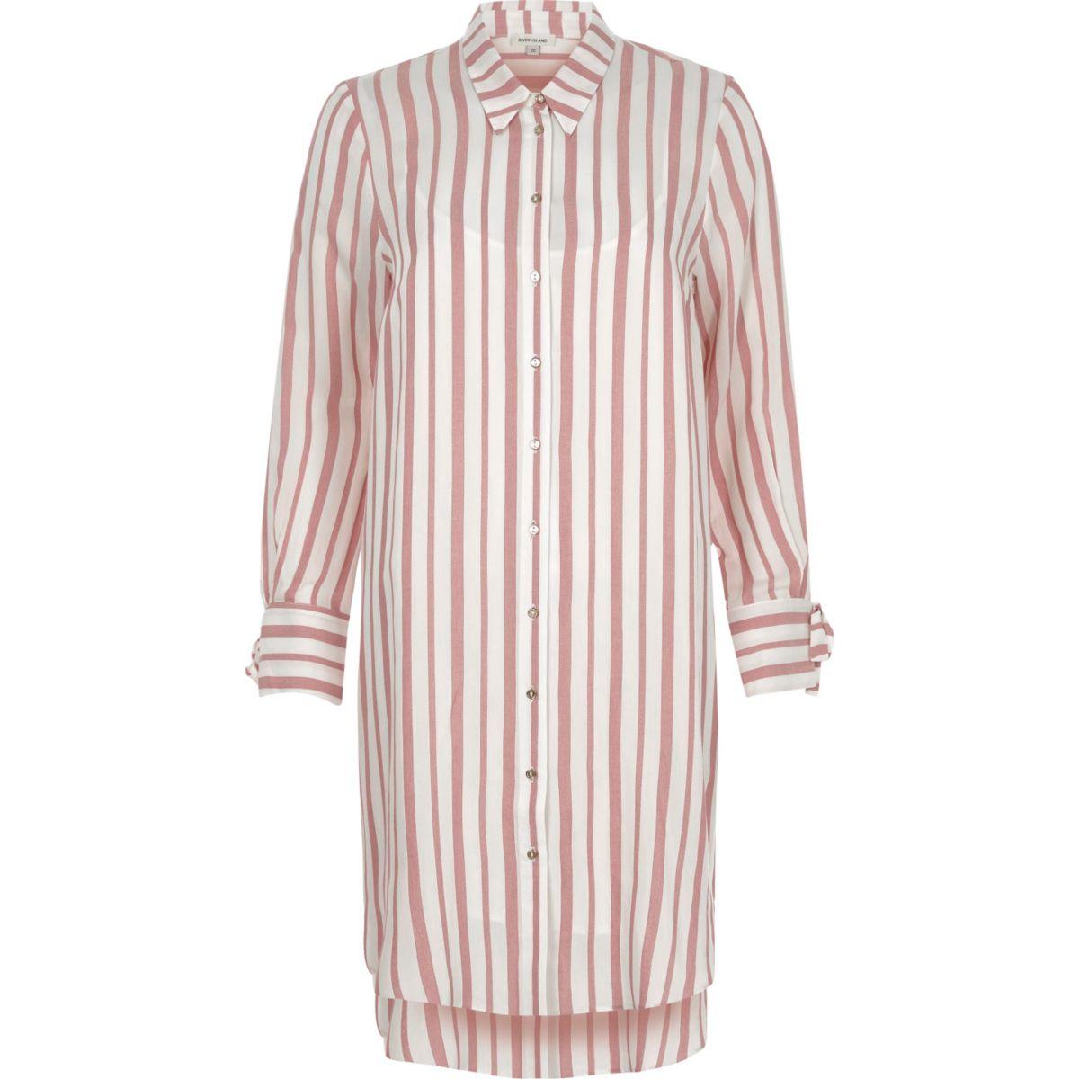 Red stripe long sleeve shirt dress