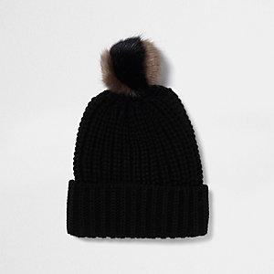 Bonnet en maille noir à pompon bicolore