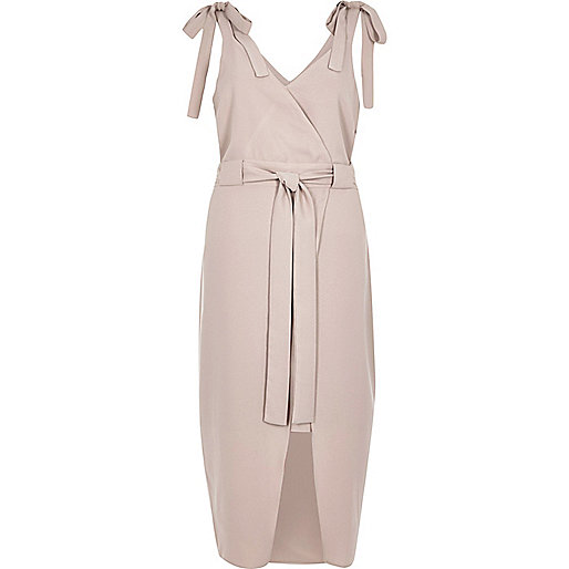 Light pink tie shoulder wrap slip dress
