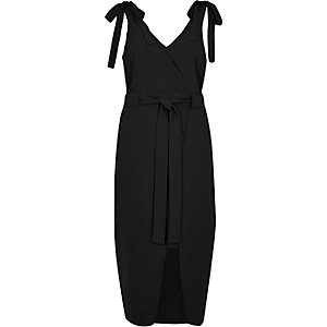 Black tie shoulder wrap slip dress