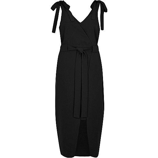 Black tie shoulder wrap slip dress