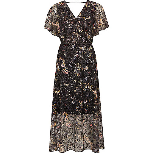 Grey floral lace frill cape midi wrap dress
