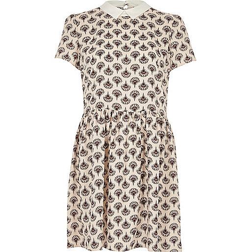 Cream fan print swing dress