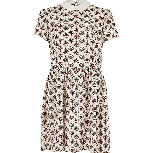 Cream fan print swing dress