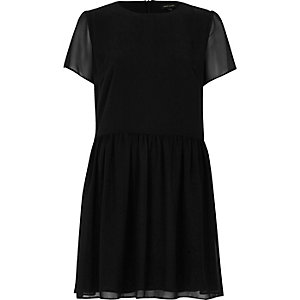 Black soft flared swing dress