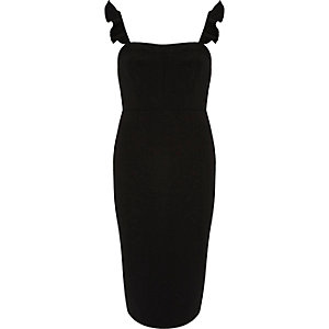 Black frill sleeve bodycon dress