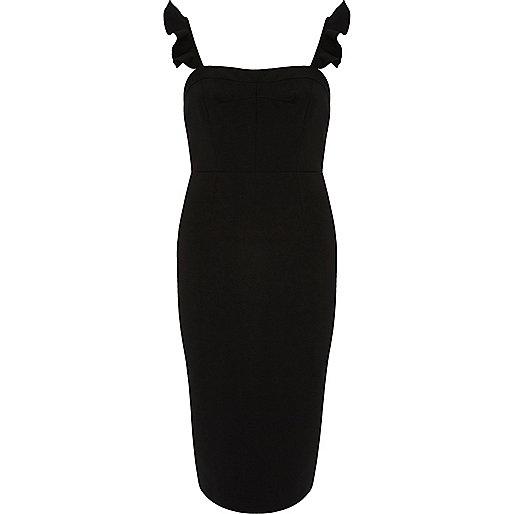 Black frill sleeve bodycon dress