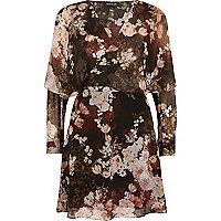 Black floral print wrap front mini dress