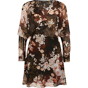 Black floral print wrap front mini dress