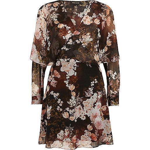 Mini robe portefeuille imprimé à fleurs noire
