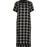 Black check short sleeve midi dress