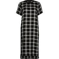 Zwarte geruite midi-jurk met korte mouwen