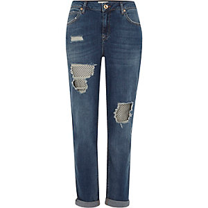 Mid blue ripped fishnet Ashley boyfriend jean
