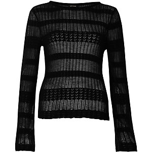 Black sheer panel knit sweater