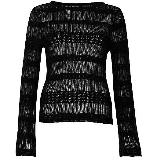 Black sheer panel knit sweater