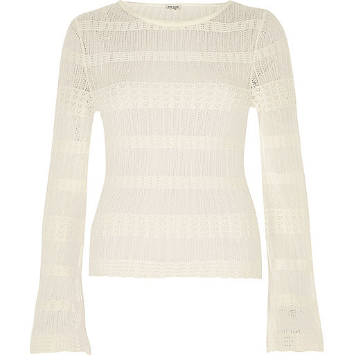 Cream sheer panel sweater