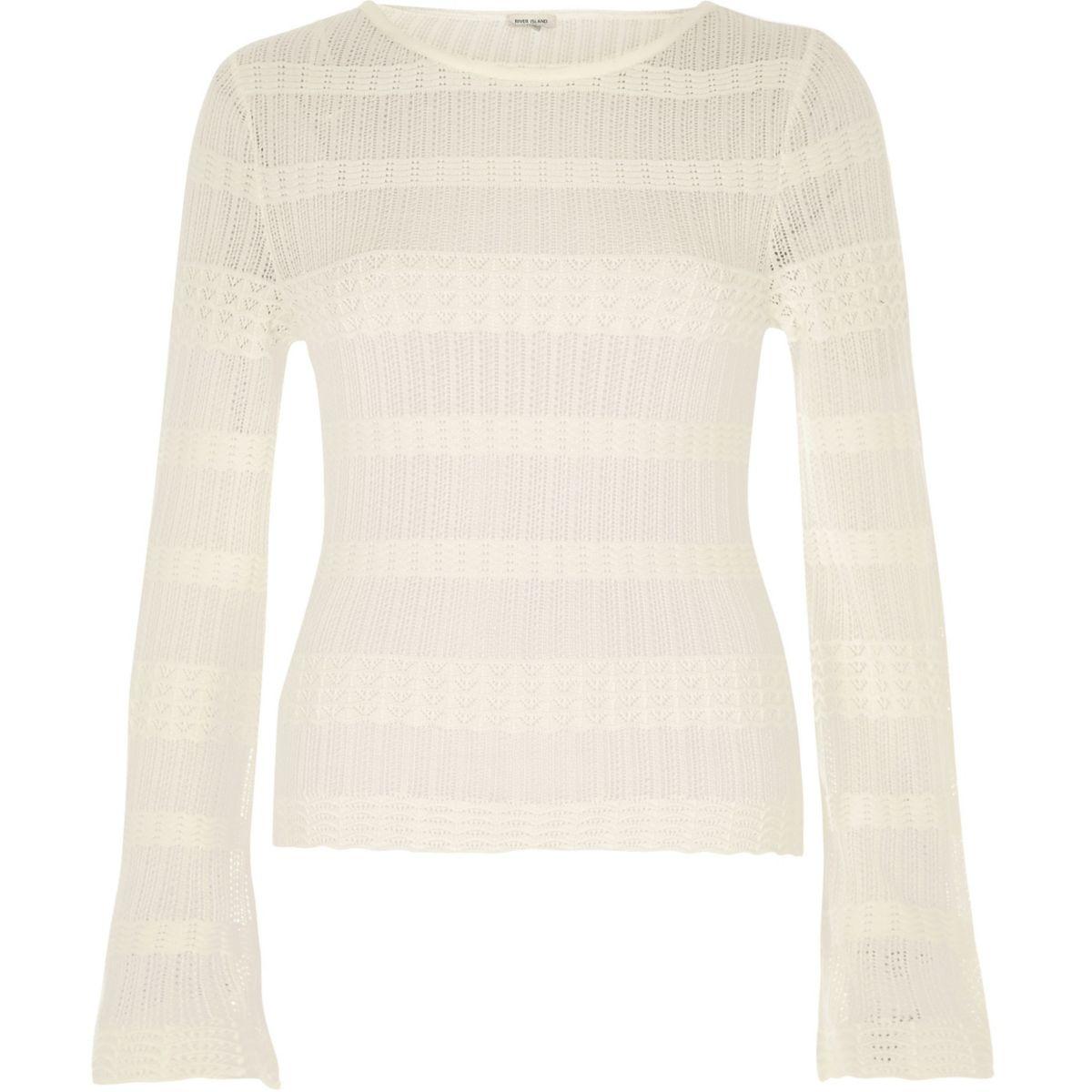 Cream sheer panel sweater