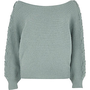 Light green batwing knit sweater
