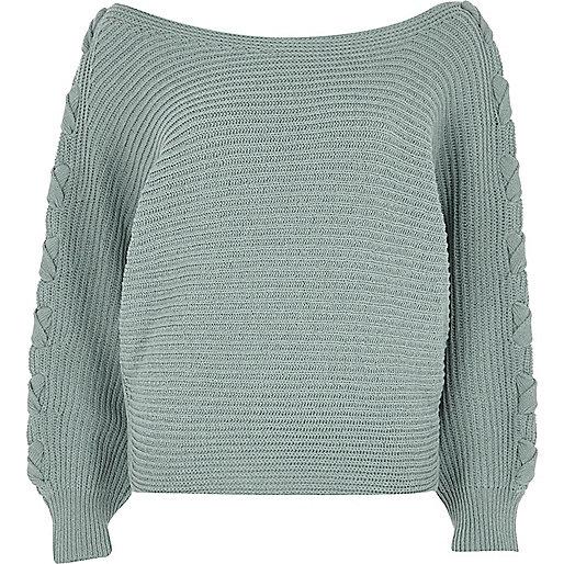 Light green batwing knit jumper
