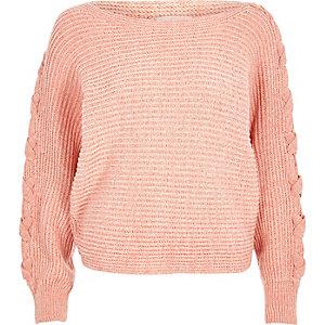 Coral batwing knit jumper