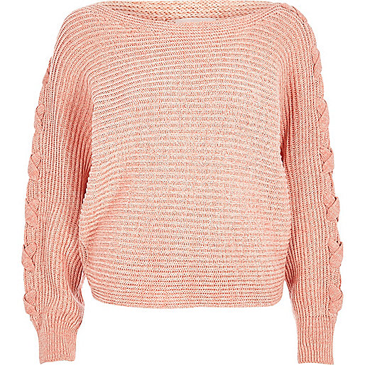 Coral batwing knit sweater