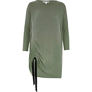 Green ruched drawstring knit top