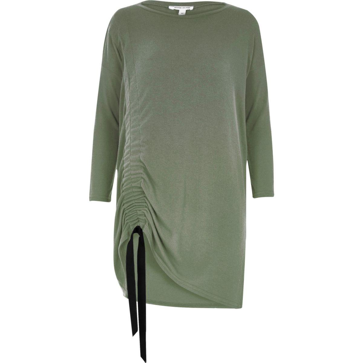 Green ruched drawstring knit top