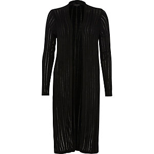 Black ladder longline cardigan