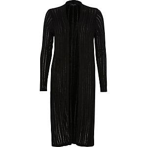 Cardigan long noir en maille échelle
