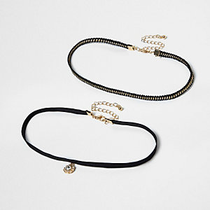 Black rhinestone pendant two row choker set