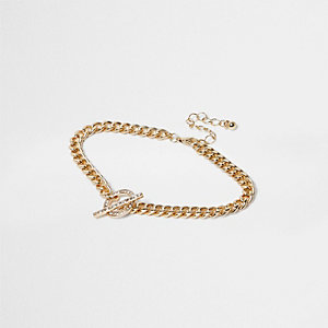 Gold tone bling t-bar anklet
