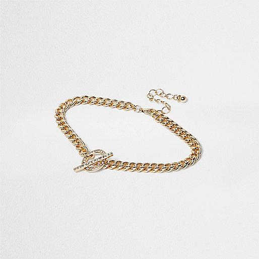 Bracelet de cheville doré avec barre en T à strass