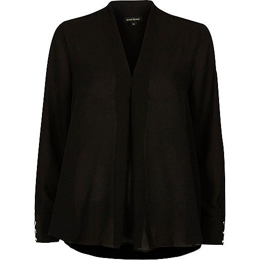 Black pleat loose blouse