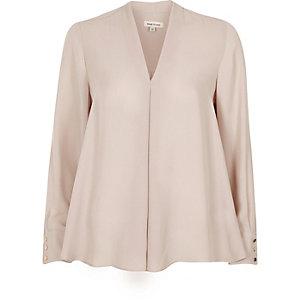 Mink grey pleat loose blouse
