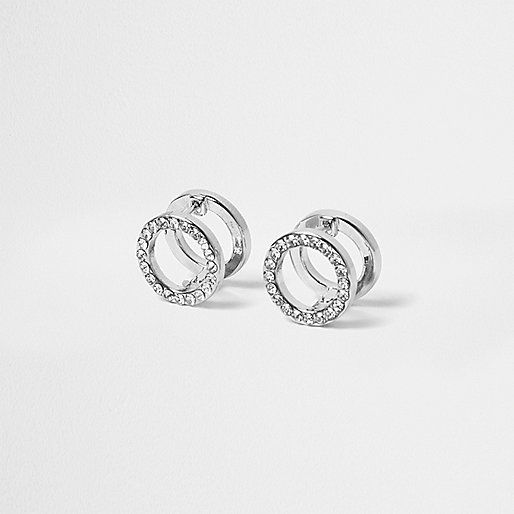 Silver tone paved circle earrings