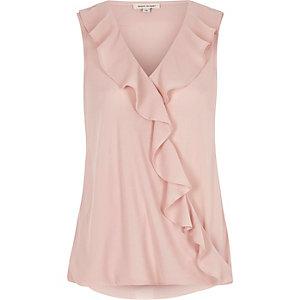 Light pink frill wrap top