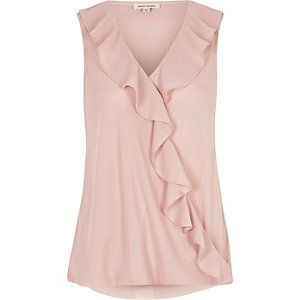 Light pink frill wrap top