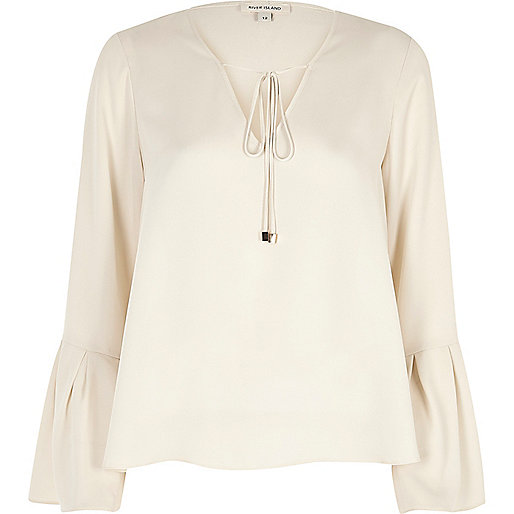 Cream tie front bell sleeve top