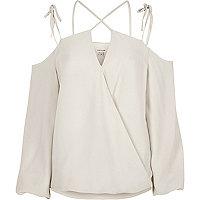 Cream strappy cold shoulder wrap top