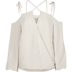Cream strappy cold shoulder wrap top