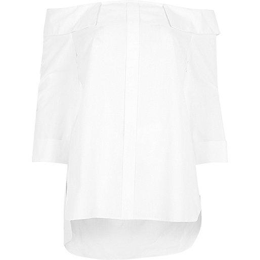 Chemise blanche encolure bardot
