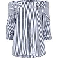 Blue stripe bardot top