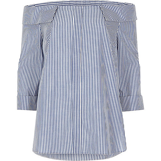 Blue stripe bardot top